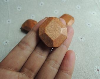 10 Pcs  31X28 mm yellowish-brown Wood Bead (W1010)