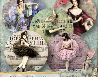"Vintage Ladies and Ballerinas - 1.5"" circles - Digital Collage Sheet (081) - instant download"
