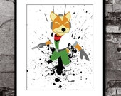Fox McCloud Splatter - Star Fox Super Mario Brothers Inspired - Video Game Art Poster