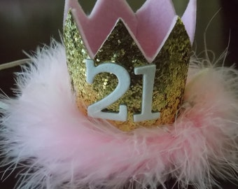 Pink and Gold Glittery 21th Birthday Crown ,  first Birthday Crown for  Birthday sweet 16 CUSTOMIZE