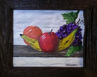 Original acrylic painting Fruit Salad banana orange grapes apple