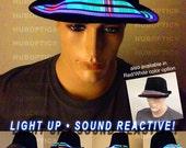 Light Up Hat Array JP1 /Custom LED Fedora Hat for DJ Party Bandana Costume Cosmic Rainbow Cyber Wear Cybernetic Robot Futuristic Cosplay
