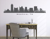 """MEMPHIS TENNESSEE Skyline Wall Decal Art Print Vinyl Removable Peel n Stick up to 100"""" wide Living Room Office Business Decor City"""
