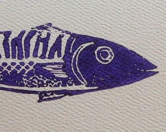 Linocut mackerel card with envelope