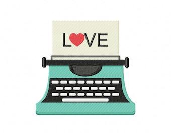 Love Typewriter Machine Embroidery Design