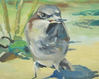 Picture Art Original Oil Painting-Bird Sparrow