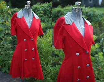 vintage 1980s red houndstooth suit dress (small)