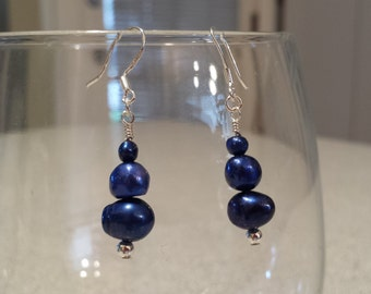 Dark Blue Freshwater Pearls & .925 Sterling Silver Dangle Earrings