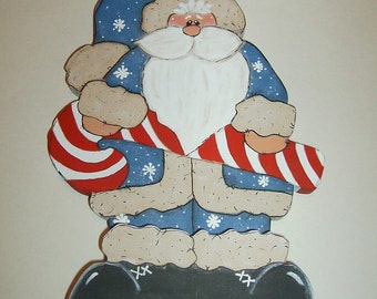 Blue Christmas Santa Claus Candy Cane Rustic County Primitive Solid Wood Handmade Decoration