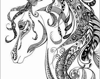 ORIGINAL INK DRAWING; zentangle, doodle, art, pen and ink, black and white, wall art, horse, spirit of the horse,