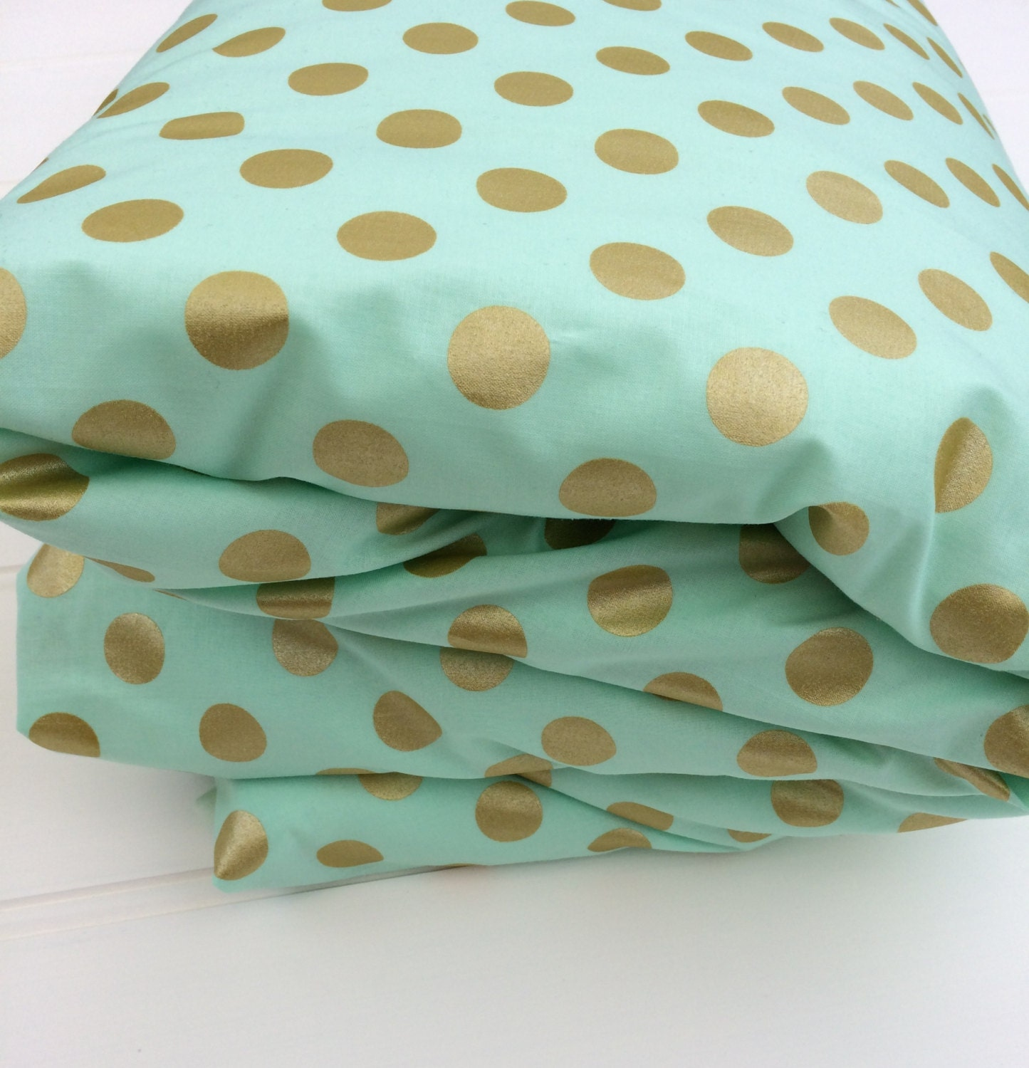 Crib size quilts for sale - Cot Quilt Doona Duvet Cover In Aqua And Gold Dots