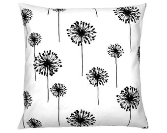 Cushion cover 50 x 50 cm black and white DANDELION dandelion flower