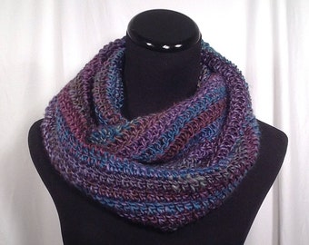 Sunset Stripe Crochet Infinity Scarf