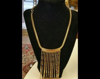 Vintage Two Tone Tassel Bib Necklace