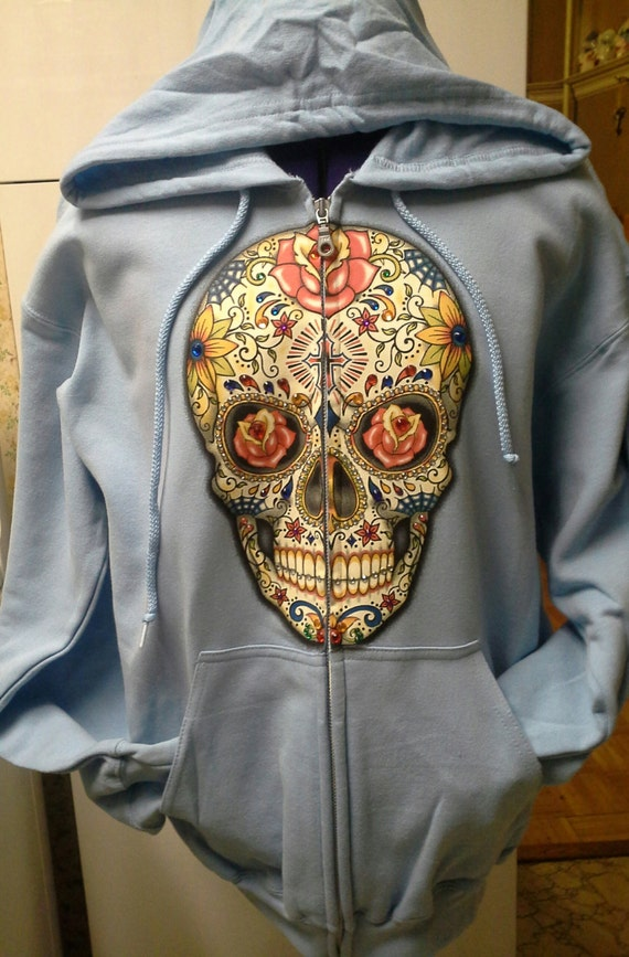 Sugar Skull light blue hooded sweatshirt