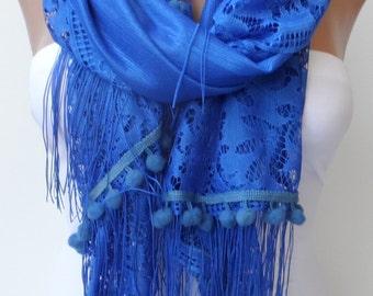 Socks blue Pompom lace scarf Summer scarf Elegance scarf LACE scarf Women scarf Pompom scarf Socks blue scarf Feminine Trend Fringe Scarf