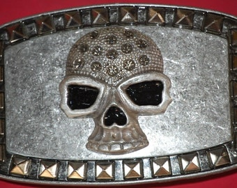 Skull Strat Leather  Belt Buckle