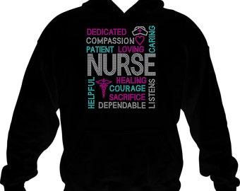 Nurse Sweatshirt/ Rhinestone Nurse Hoodie/ Rhinestone Terms Of A Nurse Hoodie Sweatshirt/ Nursing Gift