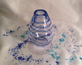 Blown Glass Bud Vase with Blue Spiral.  Hand Blown Glass Spiral Vase.  Mothers Day Gift.