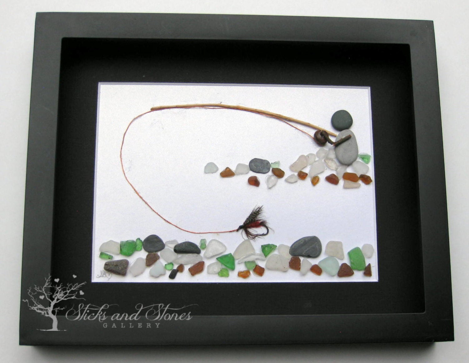 Gifts for him fly fishing pebble art personalized gifts for for Fishing gifts for him