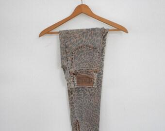 Vintage Bongo Jeans Cheetah Print High Waist Tapered Zipper Ankle Talon Zipper 80's Jeans Animal Print