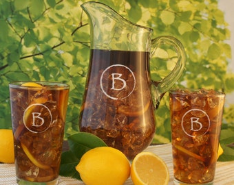 Sand Carved Sangria Carafe Engraved Glass Art Pitcher with Monogram Design Options and Font Selection (Each-Pitcher)