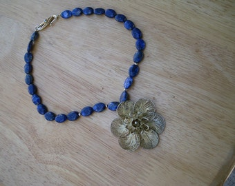 lapis and gold plated sterling silver necklace