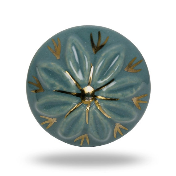 Ceramic westeram charm knob in blue with floral print for Knobs for bureau