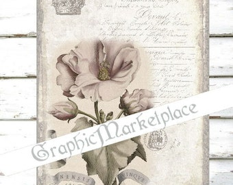 Flower Shabby Chic Large Image Instant Download Transfer Fabric digital collage sheet printable No. 082