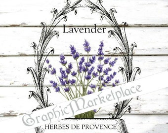 Lavender Wreath Herbs Provence Instant Download Transfer Burlap Linen Towels Pillows digital collage sheet printable graphic No. 1708