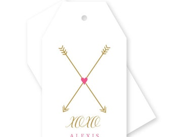 XOXO arrows gift tags, arrow & heart, personalized, Set of 10
