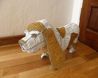 African Beaded Dog Wire Animal Sculpture - BEAGLE DOG - Medium