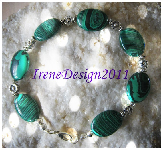 Handmade Silver Bracelet with Malachite & Flowers by IreneDesign2011