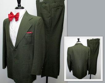 Vintage 70s Suit, 70s Green Suit, Anchorman Suit