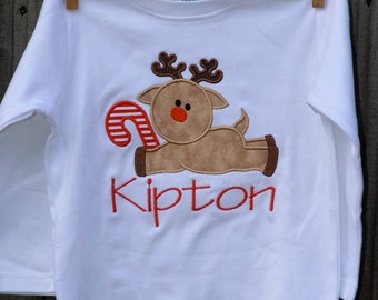 Reindeer with Candy Cane Applique Shirt or Onesie Boy or Girl