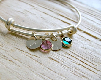 Personalized Initial Bangle Swarovski Birthstone bangle Monogram Initials Birthstone jewelry Letters Initials Discs Mother's bracelet gift