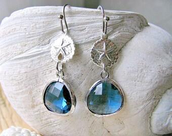 Sapphire Earrings Sand Dollar Earrings 925 Sterling Silver Sand dollar Jewelry Sapphire Jewelry Sand dollar Earrings Beach Wedding September