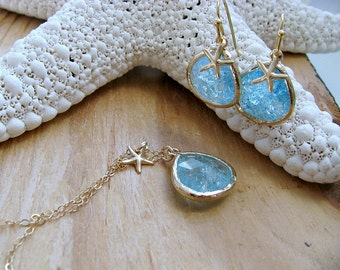 Aquamarine Starfish Necklace & Earring Set Aquamarine Necklace Starfish Earrings 14k Gold filled Necklace Beach Wedding March Birthstone