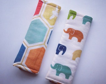 GOTS Certified Organic Cotton Reversible Carseat Strap Covers - Elephants - Toddler Strap Covers -Carseat Strap Covers -Birch Fabric