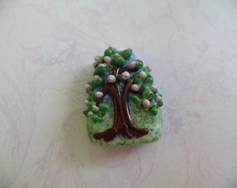 Spring Tree lampwork glass focal bead