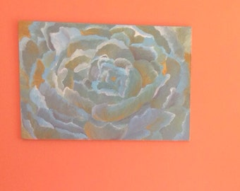 hand painted original artwork, abstract flower on canvas