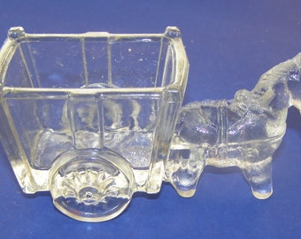 "Vintage ""Donkey Cart"" Glass Candy Container"