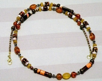 Bright Brown, Orange and Yellow Necklace