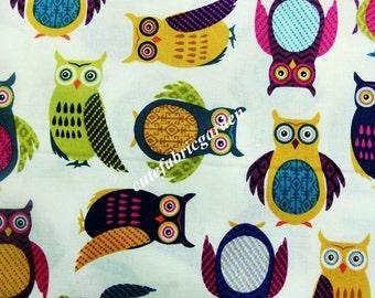 Cotton Fabric - 1 Meter Animal Cartoon - Cartoon Character - Animals Fabric - Owl Print - Owl fabric (W110cm)