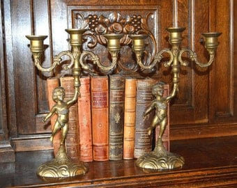 Antique Pair French Brass Candle Holders Cherub Candlesticks
