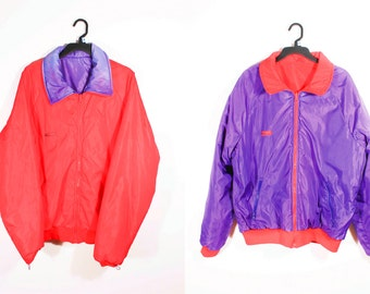 Sweet Vintage 90's Purple And Red Reversible Insulated Puffy Columbia Winter Ski Jacket Coat Large