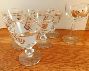 """Golden Leaf glasses from Libbey.  This sale includes 6, 4"""" tall goblets in very good condition."""