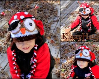 Owl hat .Crochet Pirate owl  hat. Crochet pirate owl hat.