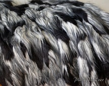 CLEARANCE Feather ostrich Black White throw, faux fur comforters, luxurious soft furry throw decor