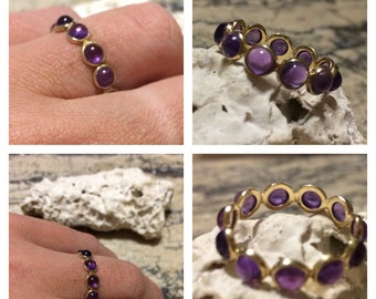 14K Yellow Gold 2.20ctw Purple Amethyst Eternity Band .